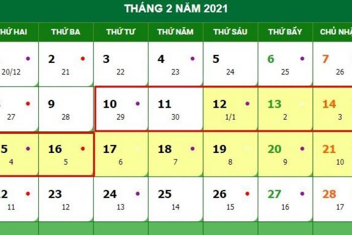 Thông báo dời lịch nghỉ Tết Nguyên đán 2021