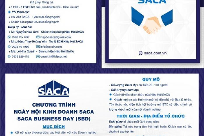 CHƯƠNG TRÌNH NGÀY HỘI KINH DOANH SACA SACA BUSINESS DAY (SBD)